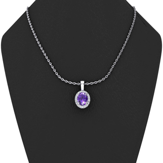 1 1/4 Carat Oval Shape Amethyst and Halo Diamond Necklace In 14 Karat White Gold With 18 Inch Chain