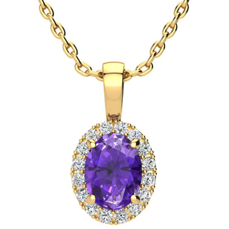 1 1/4 Carat Oval Shape Amethyst and Halo Diamond Necklace In 10 Karat Yellow Gold With 18 Inch Chain