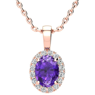 1 1/4 Carat Oval Shape Amethyst and Halo Diamond Necklace In 14 Karat Rose Gold With 18 Inch Chain