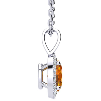 1 1/4 Carat Oval Shape Citrine and Halo Diamond Necklace In 14 Karat White Gold With 18 Inch Chain