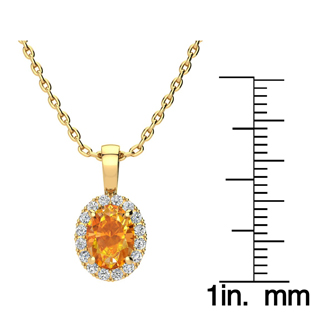 1 1/4 Carat Oval Shape Citrine and Halo Diamond Necklace In 10 Karat Yellow Gold With 18 Inch Chain