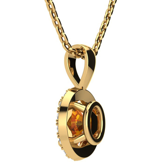 1 1/4 Carat Oval Shape Citrine and Halo Diamond Necklace In 14 Karat Yellow Gold With 18 Inch Chain