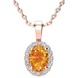 1 1/4 Carat Oval Shape Citrine and Halo Diamond Necklace In 10 Karat Rose Gold With 18 Inch Chain
