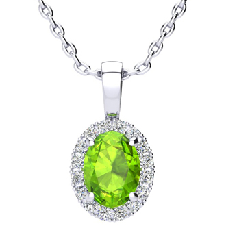 1 1/2 Carat Oval Shape Peridot and Halo Diamond Necklace In 10 Karat White Gold With 18 Inch Chain