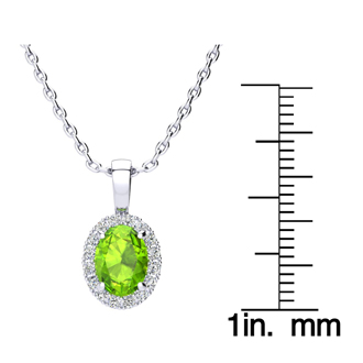 1 1/2 Carat Oval Shape Peridot and Halo Diamond Necklace In 14 Karat White Gold With 18 Inch Chain
