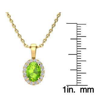 1 1/2 Carat Oval Shape Peridot and Halo Diamond Necklace In 10 Karat Yellow Gold With 18 Inch Chain