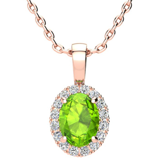 1 1/2 Carat Oval Shape Peridot and Halo Diamond Necklace In 10 Karat Rose Gold With 18 Inch Chain