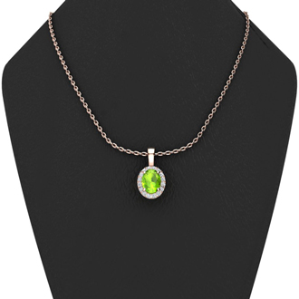 1 1/2 Carat Oval Shape Peridot and Halo Diamond Necklace In 14 Karat Rose Gold With 18 Inch Chain