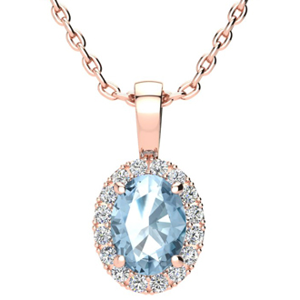 1 1/2 Carat Oval Shape Blue Topaz and Halo Diamond Necklace In 10 Karat Rose Gold With 18 Inch Chain