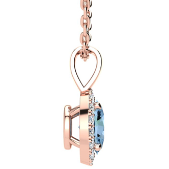 1 1/2 Carat Oval Shape Blue Topaz and Halo Diamond Necklace In 14 Karat Rose Gold With 18 Inch Chain