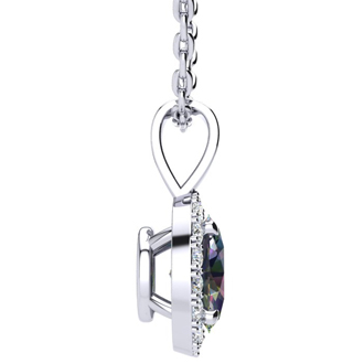 1 1/2 Carat Oval Shape Mystic Topaz and Halo Diamond Necklace In 10 Karat White Gold With 18 Inch Chain