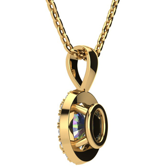 1 1/2 Carat Oval Shape Mystic Topaz and Halo Diamond Necklace In 10 Karat Yellow Gold With 18 Inch Chain