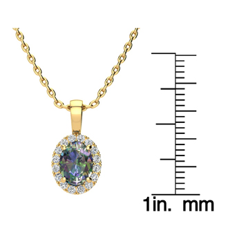 1 1/2 Carat Oval Shape Mystic Topaz and Halo Diamond Necklace In 14 Karat Yellow Gold With 18 Inch Chain
