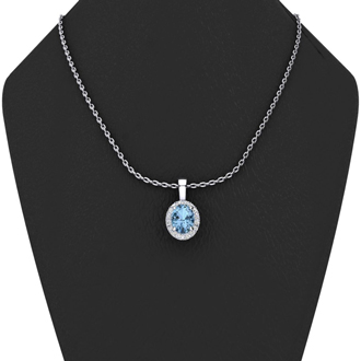 1 1/3 Carat Oval Shape Aquamarine and Halo Diamond Necklace In 10 Karat White Gold With 18 Inch Chain