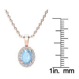 1 1/3 Carat Oval Shape Aquamarine and Halo Diamond Necklace In 10 Karat Rose Gold With 18 Inch Chain