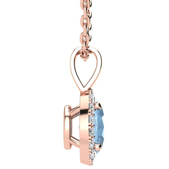 1 1/3 Carat Oval Shape Aquamarine and Halo Diamond Necklace In 14 Karat Rose Gold With 18 Inch Chain