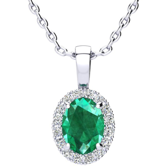 1 1/3 Carat Oval Shape Emerald and Halo Diamond Necklace In 14 Karat White Gold With 18 Inch Chain