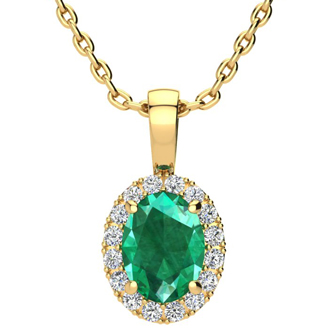 1 1/3 Carat Oval Shape Emerald and Halo Diamond Necklace In 14 Karat Yellow Gold With 18 Inch Chain