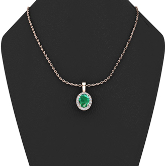 1 1/3 Carat Oval Shape Emerald and Halo Diamond Necklace In 10 Karat Rose Gold With 18 Inch Chain