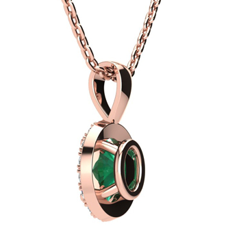 1 1/3 Carat Oval Shape Emerald and Halo Diamond Necklace In 14 Karat Rose Gold With 18 Inch Chain