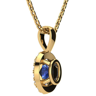 1 1/2 Carat Oval Shape Tanzanite and Halo Diamond Necklace In 10 Karat Yellow Gold With 18 Inch Chain