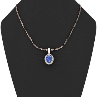 1 1/2 Carat Oval Shape Tanzanite and Halo Diamond Necklace In 10 Karat Rose Gold With 18 Inch Chain