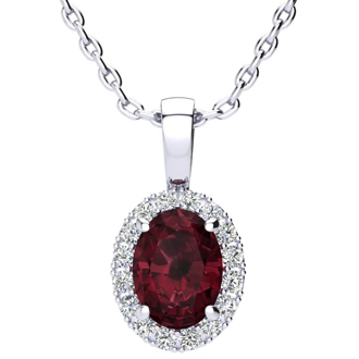 1 1/2 Carat Oval Shape Garnet and Halo Diamond Necklace In 14 Karat White Gold With 18 Inch Chain