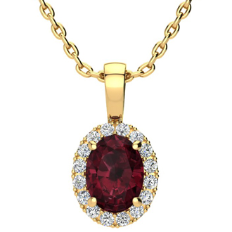 1 1/2 Carat Oval Shape Garnet and Halo Diamond Necklace In 10 Karat Yellow Gold With 18 Inch Chain
