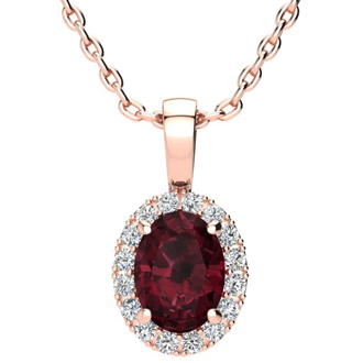 1 1/2 Carat Oval Shape Garnet and Halo Diamond Necklace In 10 Karat Rose Gold With 18 Inch Chain