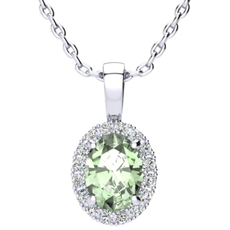 1 1/4 Carat Oval Shape Green Amethyst and Halo Diamond Necklace In 10 Karat White Gold With 18 Inch Chain