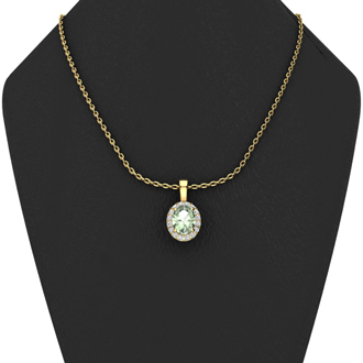 1 1/4 Carat Oval Shape Green Amethyst and Halo Diamond Necklace In 14 Karat Yellow Gold With 18 Inch Chain