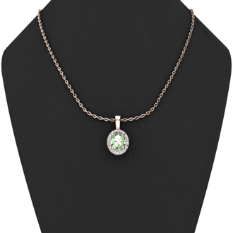 1 1/4 Carat Oval Shape Green Amethyst and Halo Diamond Necklace In 10 Karat Rose Gold With 18 Inch Chain