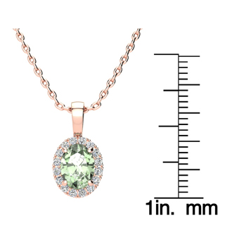 1 1/4 Carat Oval Shape Green Amethyst and Halo Diamond Necklace In 14 Karat Rose Gold With 18 Inch Chain
