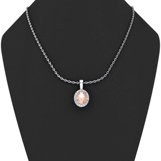 1 1/3 Carat Oval Shape Morganite and Halo Diamond Necklace In 10 Karat White Gold With 18 Inch Chain