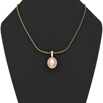1 1/3 Carat Oval Shape Morganite and Halo Diamond Necklace In 10 Karat Yellow Gold With 18 Inch Chain