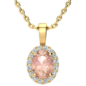 1 1/3 Carat Oval Shape Morganite and Halo Diamond Necklace In 14 Karat Yellow Gold With 18 Inch Chain