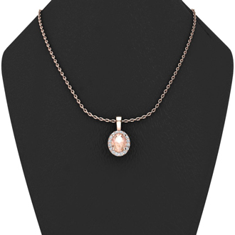 1 1/3 Carat Oval Shape Morganite and Halo Diamond Necklace In 14 Karat Rose Gold With 18 Inch Chain