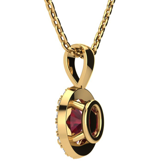 1 2/3 Carat Oval Shape Ruby and Halo Diamond Necklace In 10 Karat Yellow Gold With 18 Inch Chain