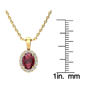 1 2/3 Carat Oval Shape Ruby and Halo Diamond Necklace In 14 Karat Yellow Gold With 18 Inch Chain