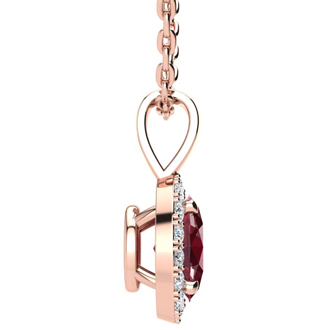 1 2/3 Carat Oval Shape Ruby and Halo Diamond Necklace In 10 Karat Rose Gold With 18 Inch Chain