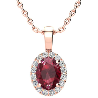 1 2/3 Carat Oval Shape Ruby and Halo Diamond Necklace In 14 Karat Rose Gold With 18 Inch Chain