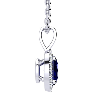 1 3/4 Carat Oval Shape Sapphire and Halo Diamond Necklace In 10 Karat White Gold With 18 Inch Chain
