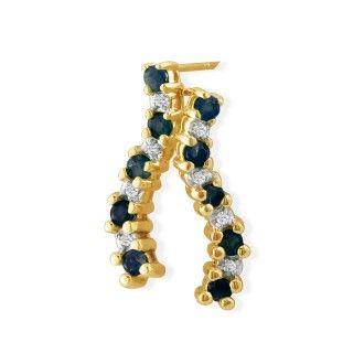 1/2ct Sapphire Journey Diamond Earrings in 10k Yellow Gold
