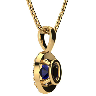 1 3/4 Carat Oval Shape Sapphire and Halo Diamond Necklace In 14 Karat Yellow Gold With 18 Inch Chain