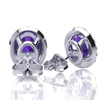 1 1/2 Carat Oval Shape Amethyst and Halo Diamond Stud Earrings In 10 Karat White Gold