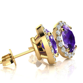 1 1/2 Carat Oval Shape Amethyst and Halo Diamond Stud Earrings In 14 Karat Yellow Gold