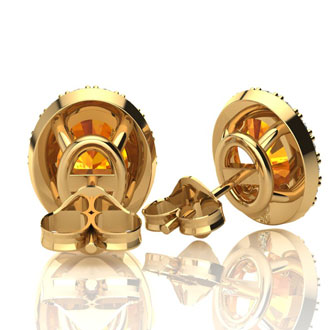 1 1/2 Carat Oval Shape Citrine and Halo Diamond Stud Earrings In 10 Karat Yellow Gold