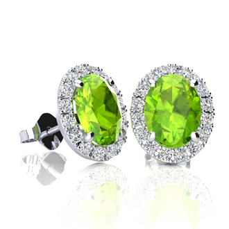 2 Carat Oval Shape Peridot and Halo Diamond Stud Earrings In 10 Karat White Gold