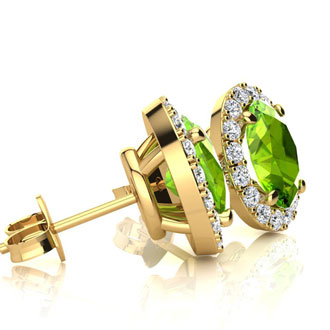 2 Carat Oval Shape Peridot and Halo Diamond Stud Earrings In 14 Karat Yellow Gold