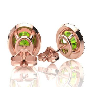 2 Carat Oval Shape Peridot and Halo Diamond Stud Earrings In 10 Karat Rose Gold